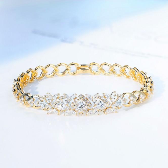 天然公主方豪華鑽石手鍊