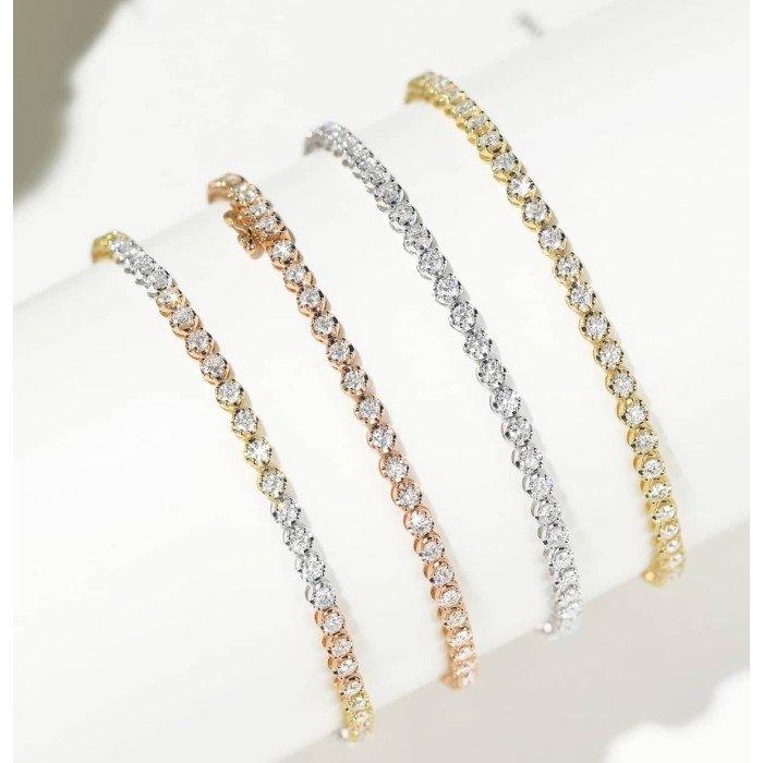 18K三色彩金鑽石手鍊