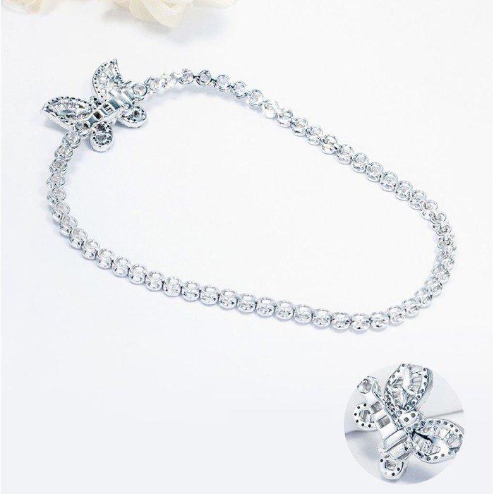 18K金蝴蝶款式鑽石手鍊