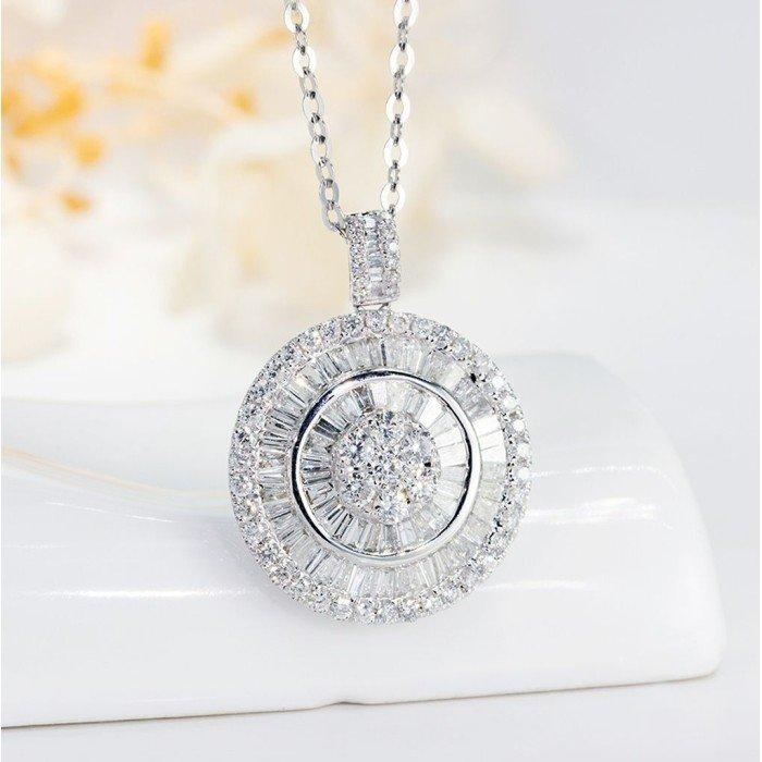 18K金同心圓鑽石項鍊