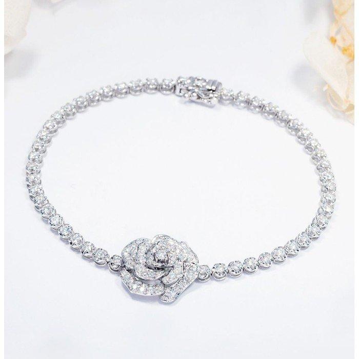 玫瑰花款式1.5克拉鑽石手鍊