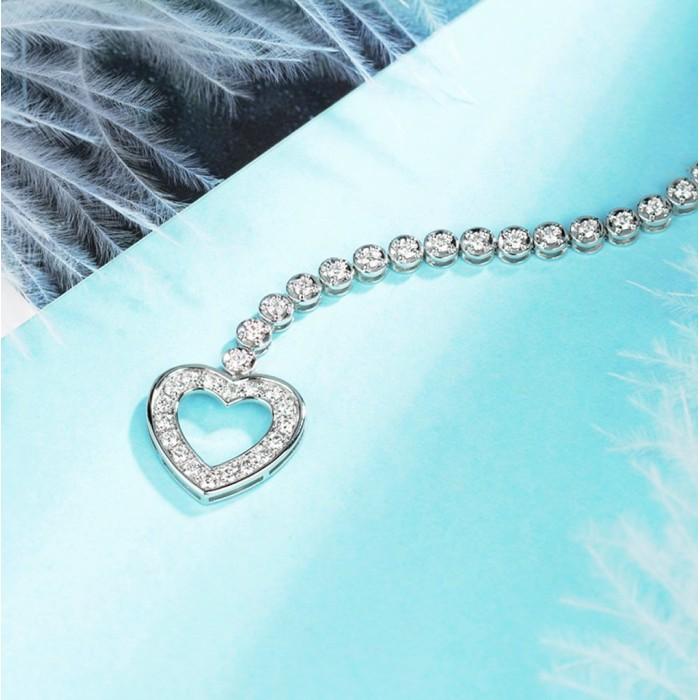 18K金心型鑽石手鍊