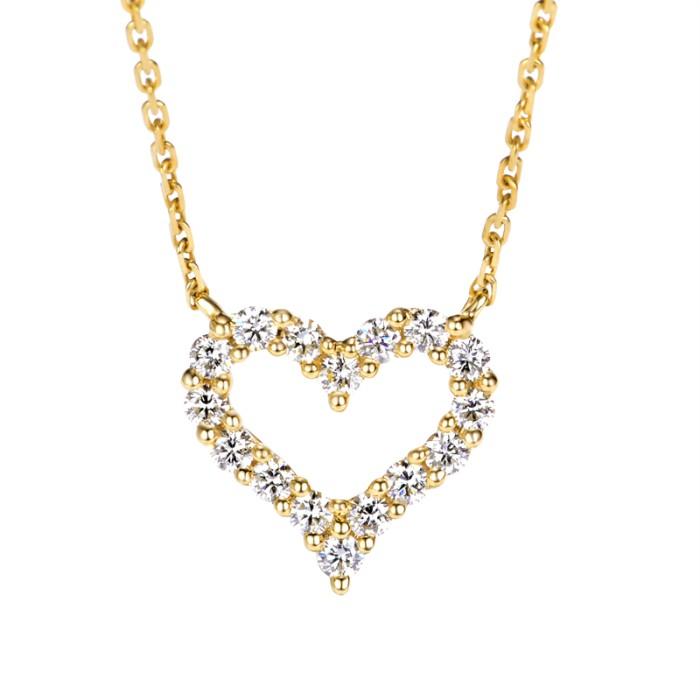 18K天然心形鑽石項鍊