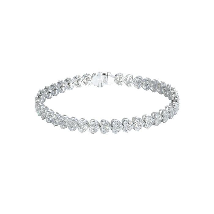 時尚3克拉心型鑽石手鍊