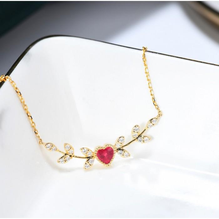 天然紅寶石鑽石項鍊