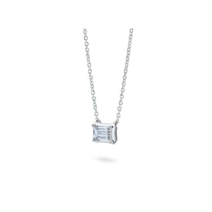 18K金CVD祖母綠形鑽石項鍊