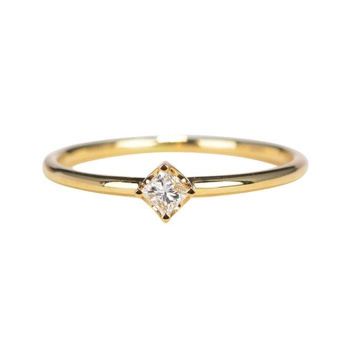 輕珠寶-0.15克拉方型鑽戒