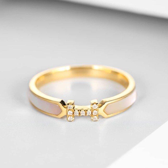 輕珠寶-18K金小清新H型鑽石戒指