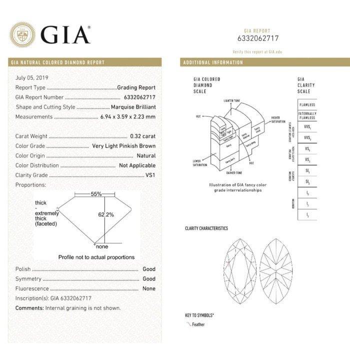 GIA0.32克拉馬眼形粉鑽鑽戒