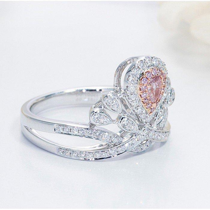 小奢華公主粉色鑽石鑽戒