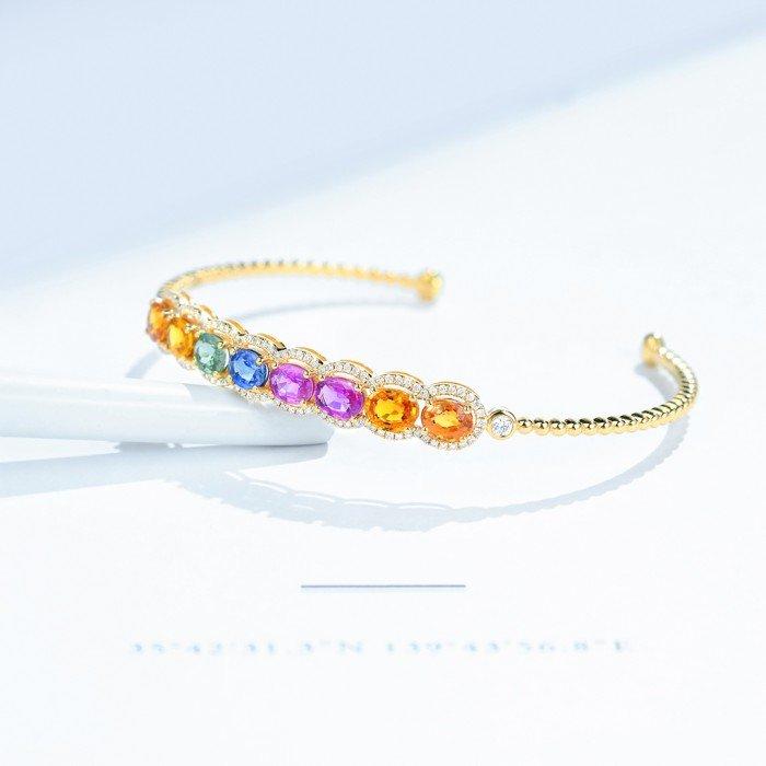 18K金七彩藍寶鑽石戒手環