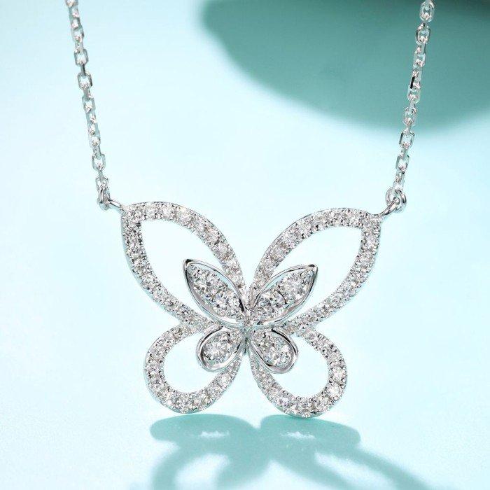 18K金蝶翼鑽石項鍊