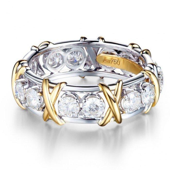 18金X字形鑽石環戒