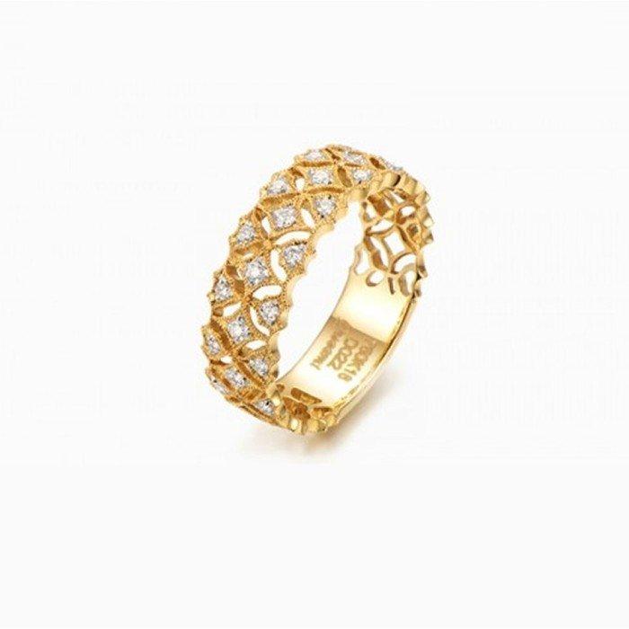 蕾絲復古18K金鑽戒