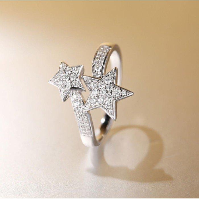 雙星相隨18K金鑽戒