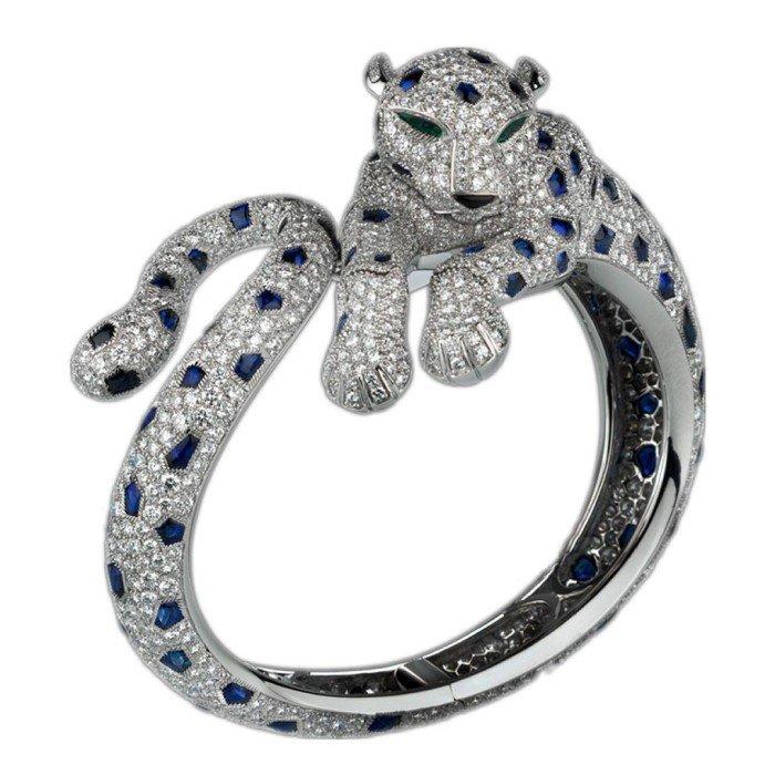 18k金豪奢滿鑽美洲豹手環