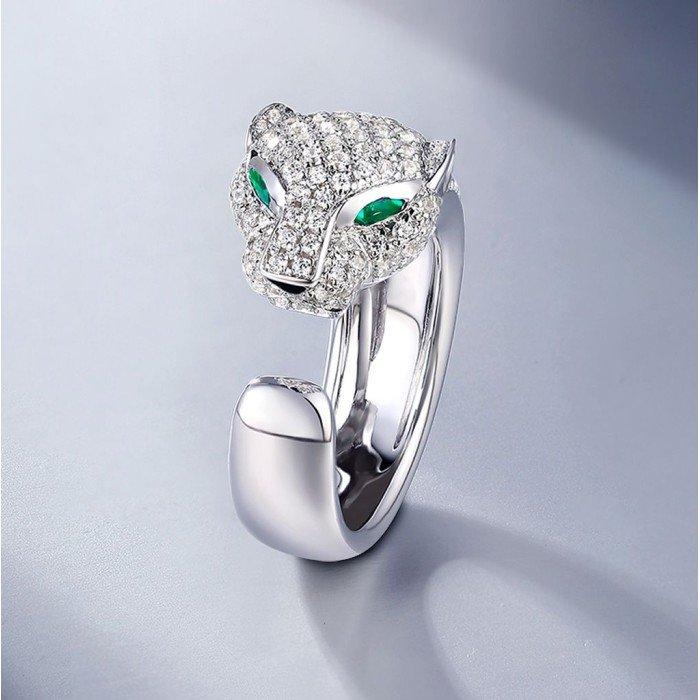 18k金美洲豹群鑲鑽戒指