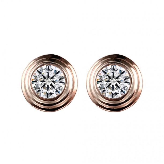 泡泡0.20克拉包鑲鑽石耳環