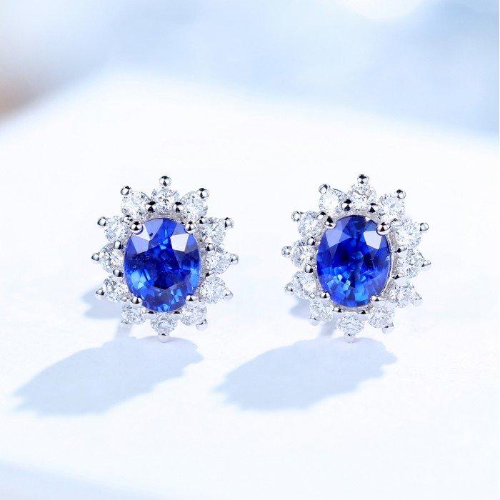 18K金藍寶石鑽石耳環