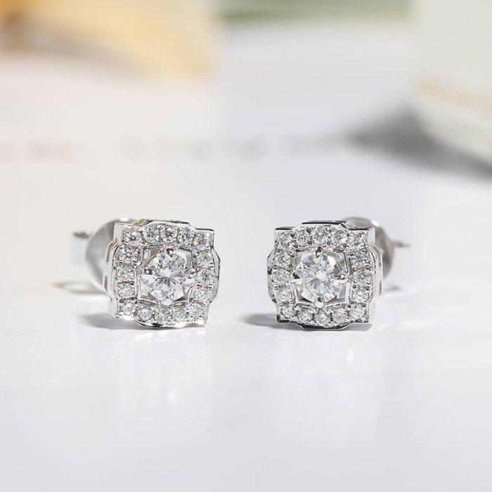 18K金Belle鑽石耳環