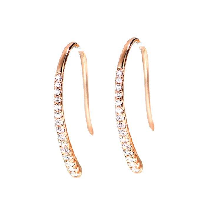 輕珠寶-18K金1字形鑽石耳環