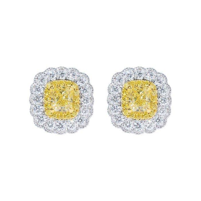 18K金黃色彩鑽鑽石耳環