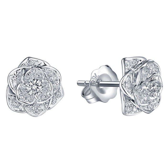 18K金唯美玫瑰花瓣鑽石耳環