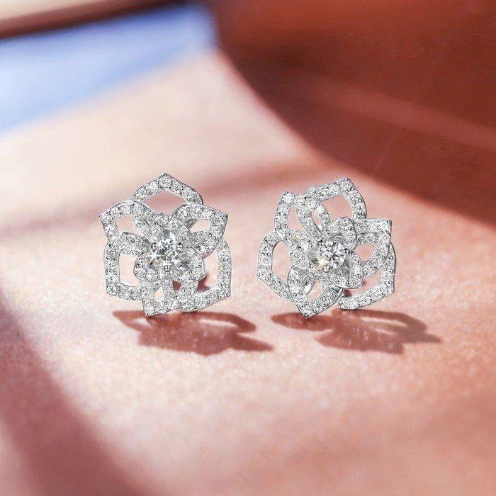 18K金玫瑰花鑽石耳環