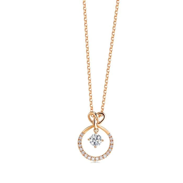 情人同心結鑽石項鍊