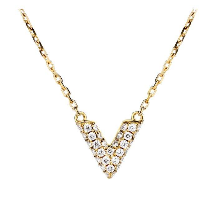 輕珠寶-18K金V形滿鑽項鍊