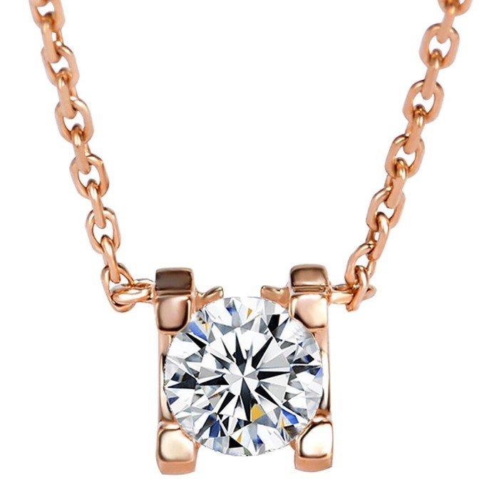 18K金天然牛頭款鑽石項鍊