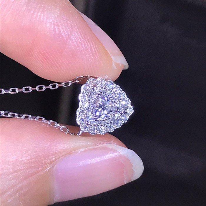 18K金0.338克拉心形鑽石項鍊
