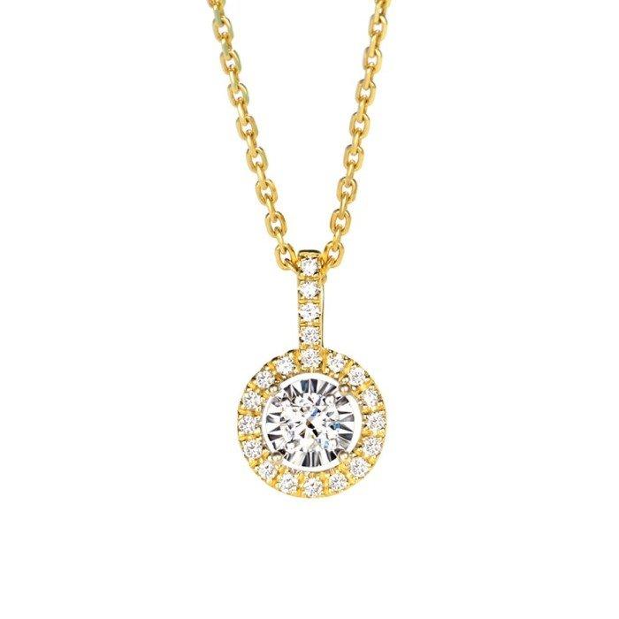 天然0.26克拉群鑲鑽石項鍊