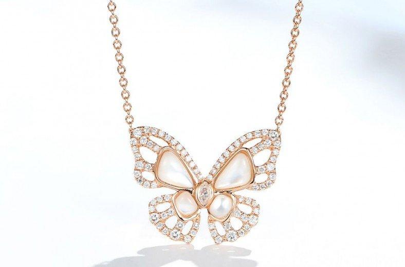 18K金蝴蝶鑽石項鍊