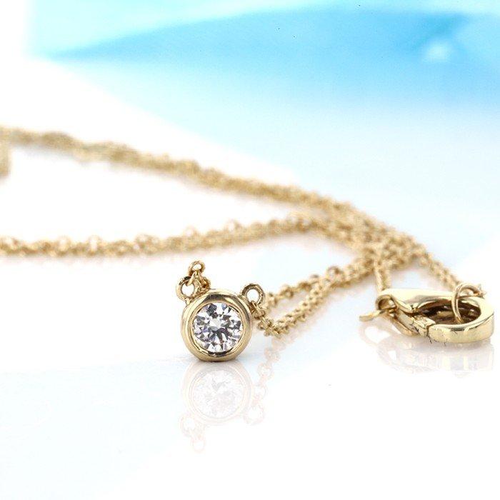 18K金0.20克拉泡泡鑽石項鍊