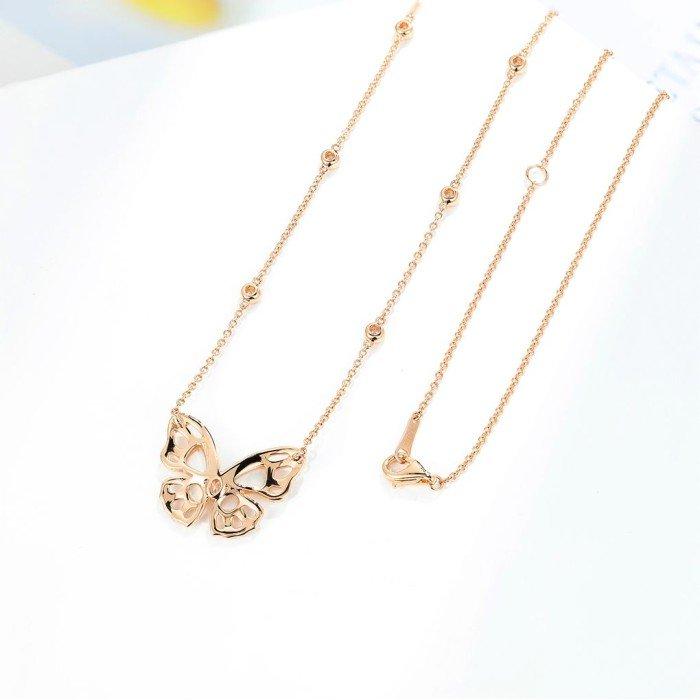 18K金蝴蝶白貝鑽石項鍊