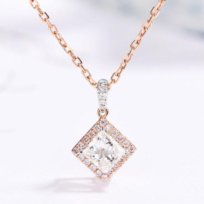 18K玫瑰金天然公主方形鑽石項鍊