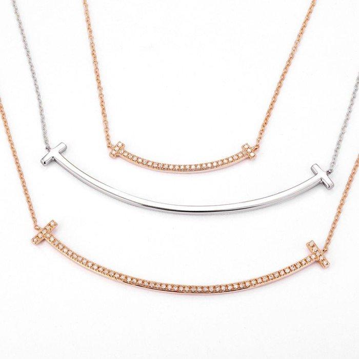18K金天然微笑鑽石項鍊