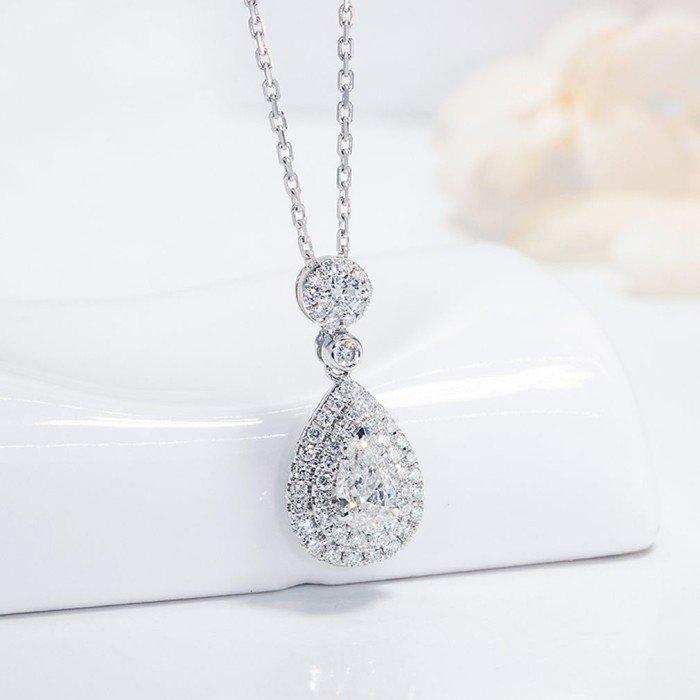柔美18K金水滴形鑽石項鍊
