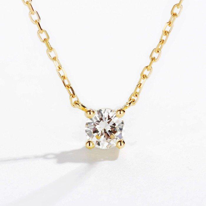 天然0.30克拉4爪鑽石項鍊