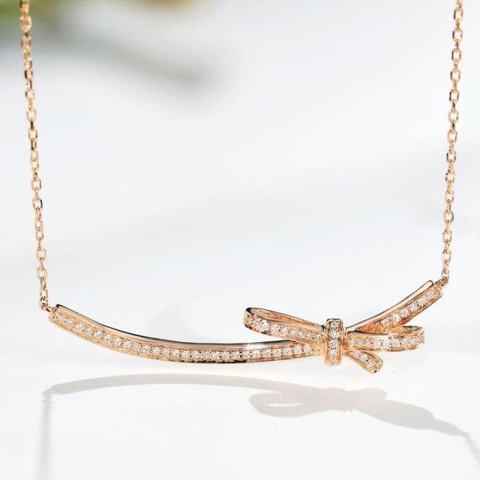 蝴蝶結天然0.26克拉鑽石鎖骨鍊