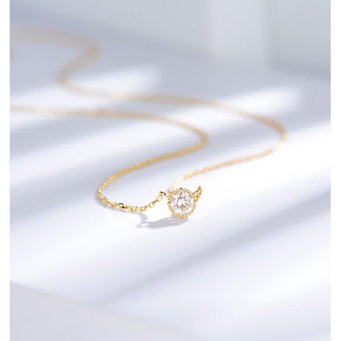 典雅18K天然鑽石項鍊