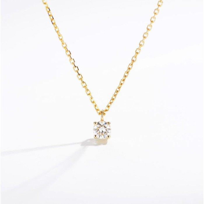 4爪18K金天然鑽石項鍊