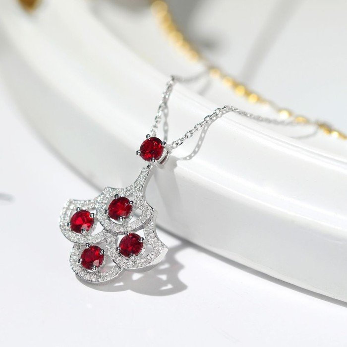 天然紅寶石銀杏葉鑽石項鍊