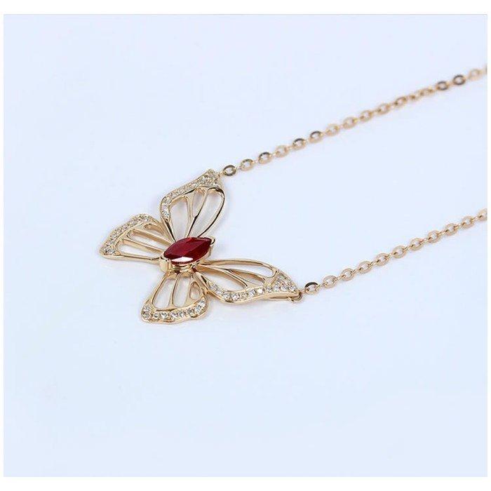 蝴蝶造型紅寶鑽石項鍊