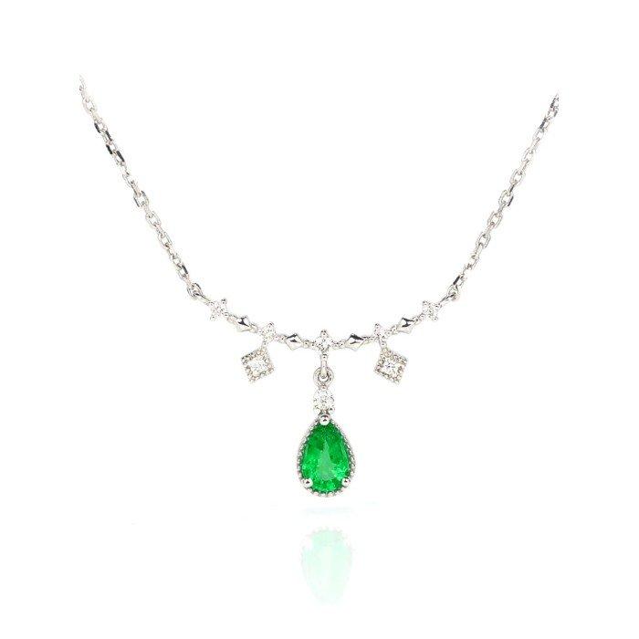 天然水滴形祖母綠鑽石項鍊