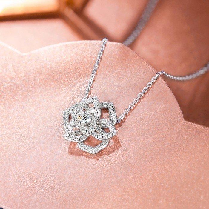 18K金玫瑰花鑽石項鍊