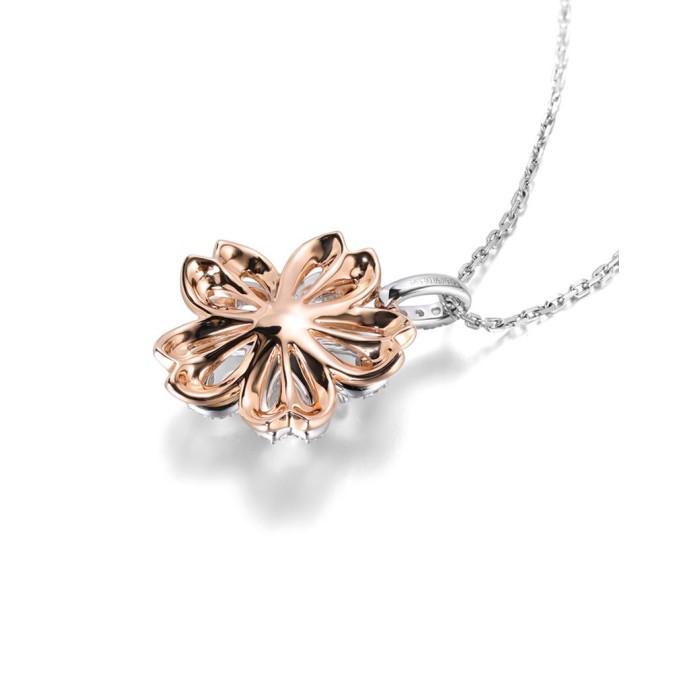 18K金櫻花款式鎖骨鑽石項鍊