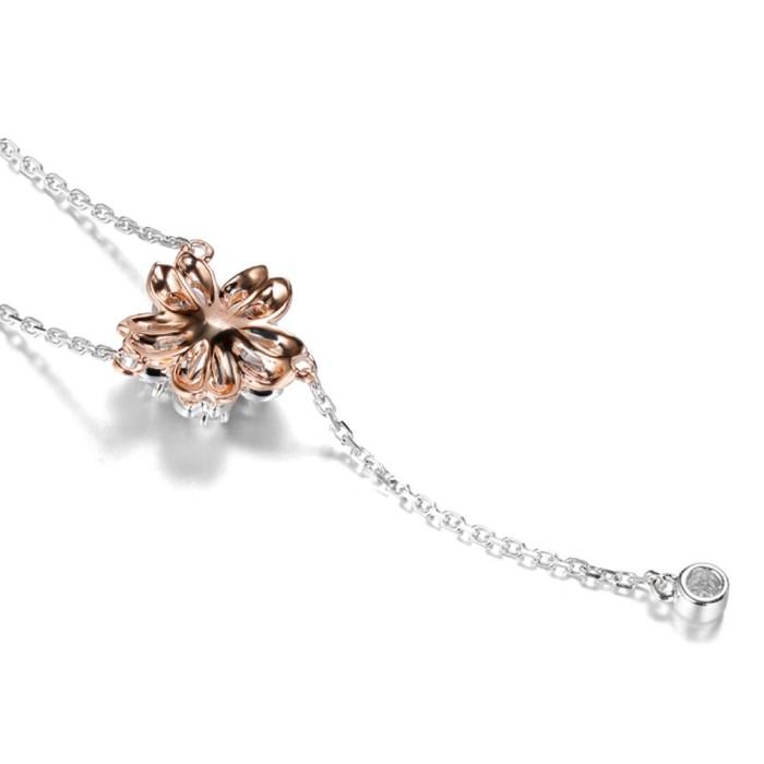 18K金山櫻花款式鑽石項鍊