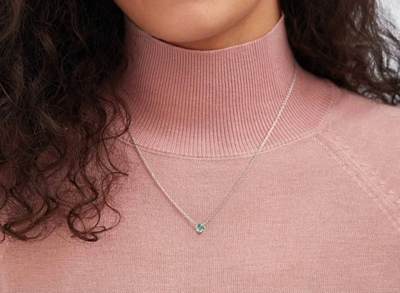 18K金CVD藍色彩鑽項鍊